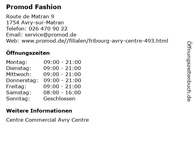 Promod Fashion in Avry-sur-Matran: Adresse und Öffnungszeiten