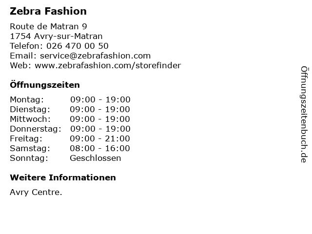 Zebra Fashion SA in Avry-sur-Matran: Adresse und Öffnungszeiten