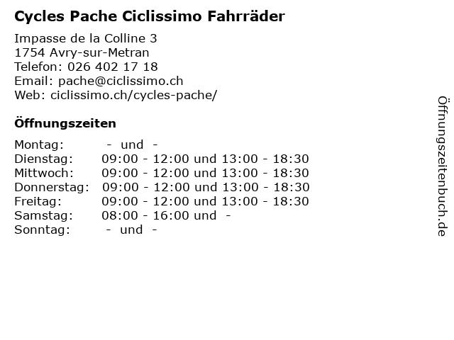 Cycles Pache Ciclissimo Fahrräder in Avry-sur-Metran: Adresse und Öffnungszeiten