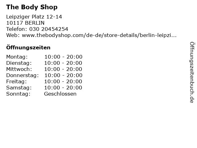 The Body Shop Germany GmbH in Berlin: Adresse und Öffnungszeiten