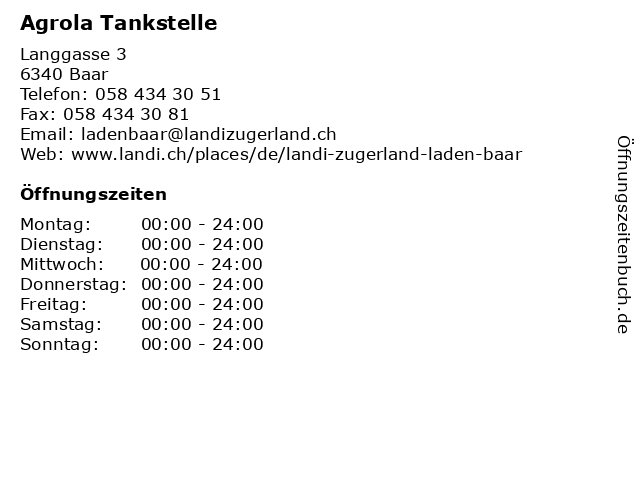 Agrola Tankstelle in Baar: Adresse und Öffnungszeiten