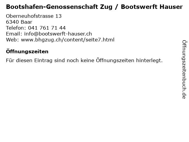 Bootshafen-Genossenschaft Zug / Bootswerft Hauser in Baar: Adresse und Öffnungszeiten