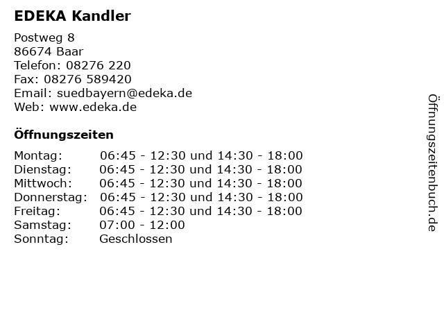 EDEKA Kandler in Baar: Adresse und Öffnungszeiten