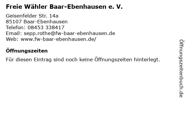 Freie Wähler Baar-Ebenhausen e. V. in Baar-Ebenhausen: Adresse und Öffnungszeiten