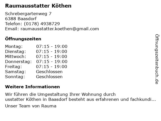 Raumausstatter Köthen in Baasdorf: Adresse und Öffnungszeiten