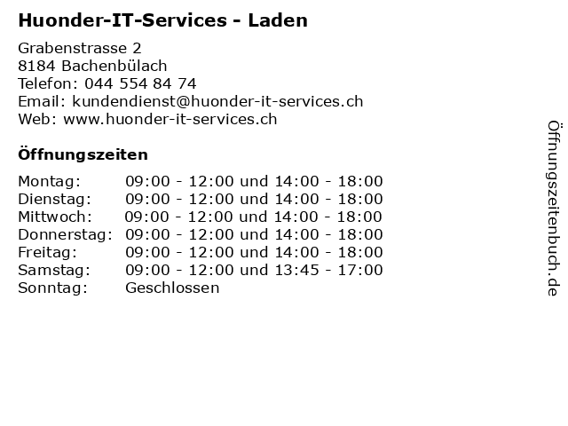 Huonder-IT-Services - Laden in Bachenbülach: Adresse und Öffnungszeiten