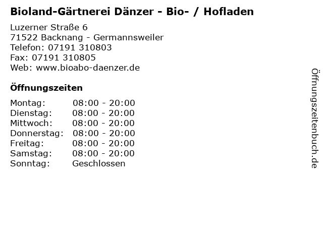 71222cfcbb Bioland-Gärtnerei Dänzer - Bio- / Hofladen in Backnang - Germannsweiler:  Adresse und