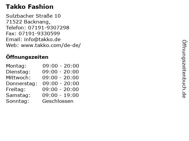 Takko Fashion in Backnang,: Adresse und Öffnungszeiten