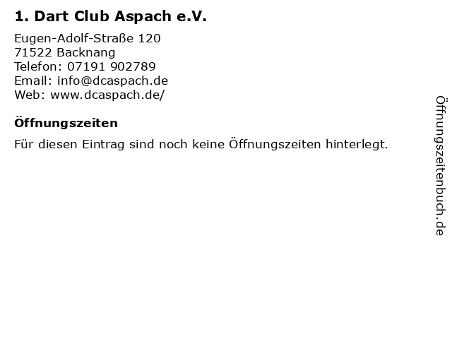 1. Dart Club Aspach e.V. in Backnang: Adresse und Öffnungszeiten