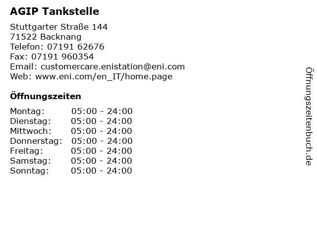 AGIP Tankstelle in Backnang: Adresse und Öffnungszeiten