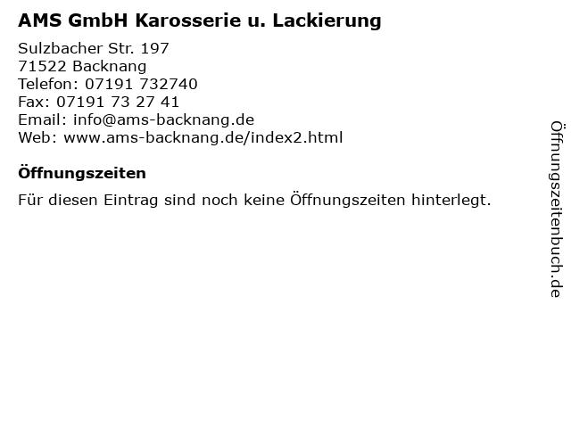 AMS GmbH Karosserie u. Lackierung in Backnang: Adresse und Öffnungszeiten