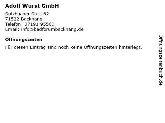Adolf Wurst GmbH in Backnang: Adresse und Öffnungszeiten