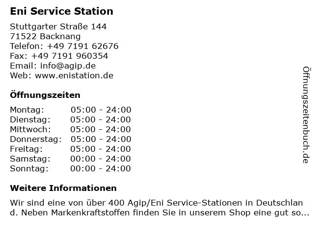 Agip Service-Station, Backnang in Backnang: Adresse und Öffnungszeiten
