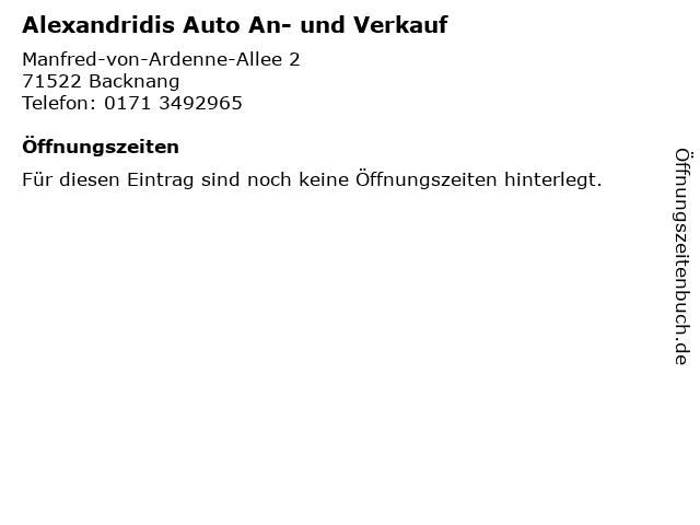 Alexandridis Auto An- und Verkauf in Backnang: Adresse und Öffnungszeiten