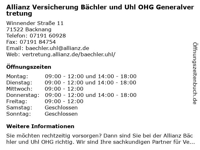 Allianz Versicherung - Generalvertretung Bächler und Uhl OHG in Backnang: Adresse und Öffnungszeiten