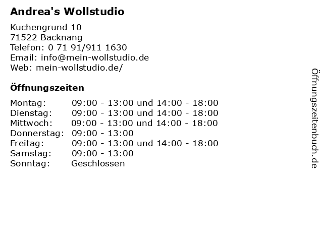 Andrea's Wollstudio in Backnang: Adresse und Öffnungszeiten