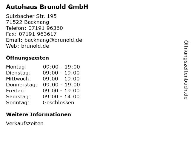 Autohaus Brunold GmbH in Backnang: Adresse und Öffnungszeiten