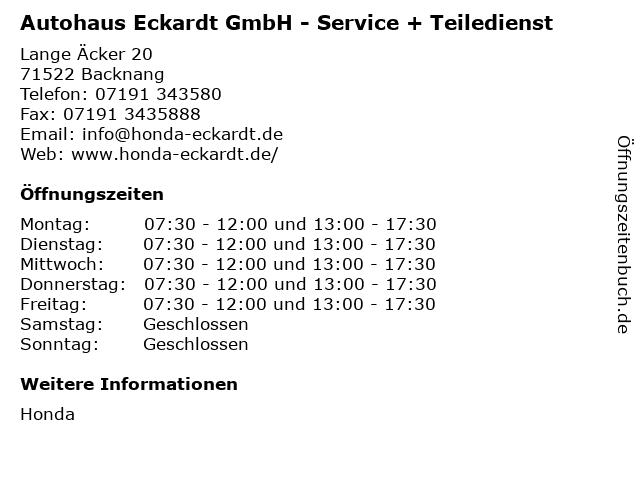 Autohaus Eckardt GmbH - Service + Teiledienst in Backnang: Adresse und Öffnungszeiten