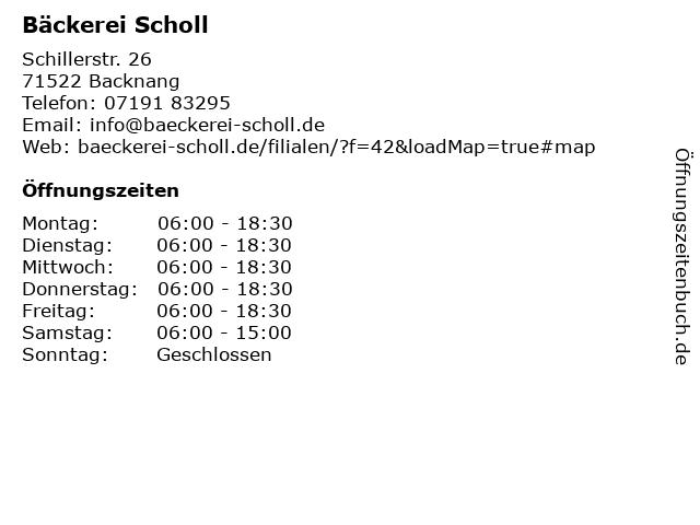 Bäckerei Scholl in Backnang: Adresse und Öffnungszeiten