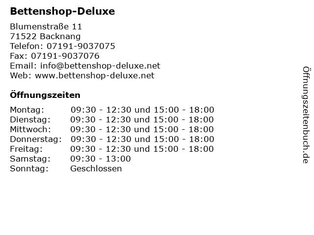 Bettenshop-Deluxe in Backnang: Adresse und Öffnungszeiten