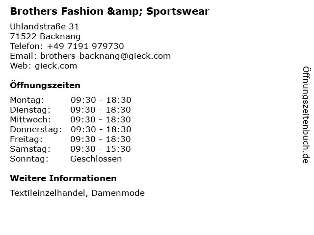 Brothers Fashion & Sportswear in Backnang: Adresse und Öffnungszeiten