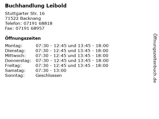 Buchhandlung Leibold in Backnang: Adresse und Öffnungszeiten