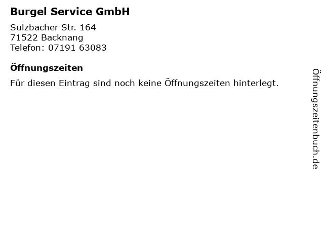Burgel Service GmbH in Backnang: Adresse und Öffnungszeiten