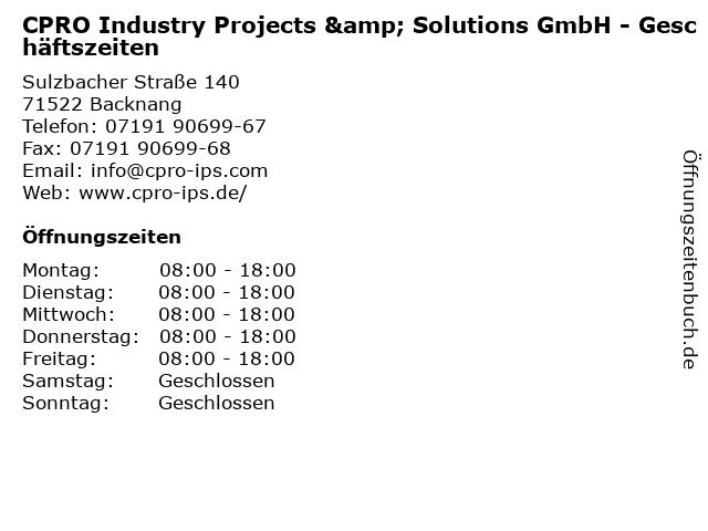 CPRO Industry Projects & Solutions GmbH - Geschäftszeiten in Backnang: Adresse und Öffnungszeiten
