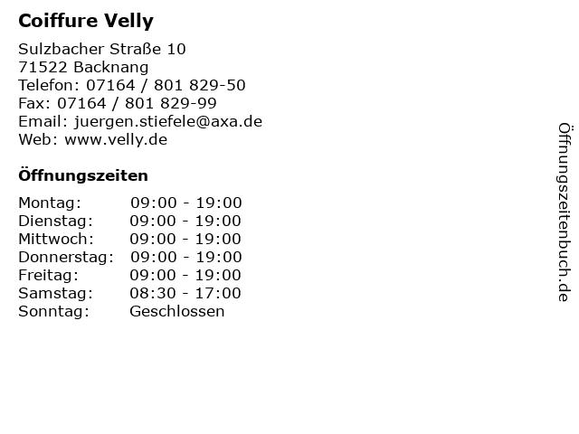 Coiffure Velly in Backnang: Adresse und Öffnungszeiten
