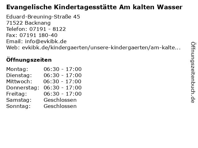 Evangelische Kindertagesstätte Am kalten Wasser in Backnang: Adresse und Öffnungszeiten