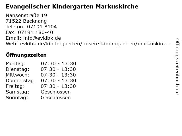Evangelischer Kindergarten Markuskirche in Backnang: Adresse und Öffnungszeiten