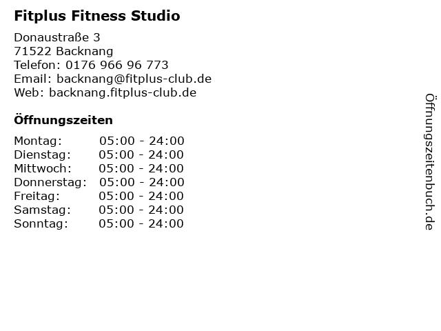 Fitplus Fitness Studio in Backnang: Adresse und Öffnungszeiten