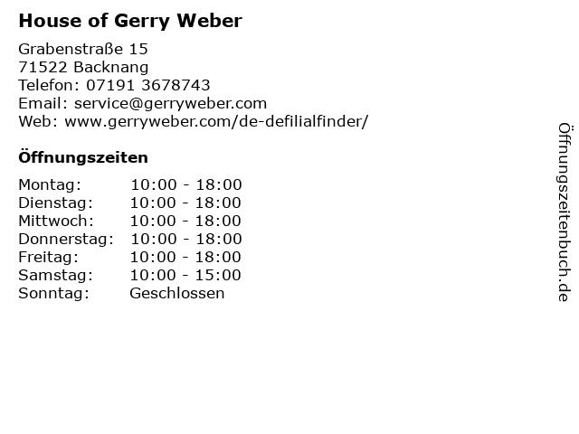 GERRY WEBER Shop in Backnang: Adresse und Öffnungszeiten