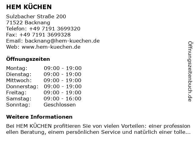"""ᐅ Öffnungszeiten """"HEM KÜCHEN""""   Sulzbacher Straße 200 in Backnang"""