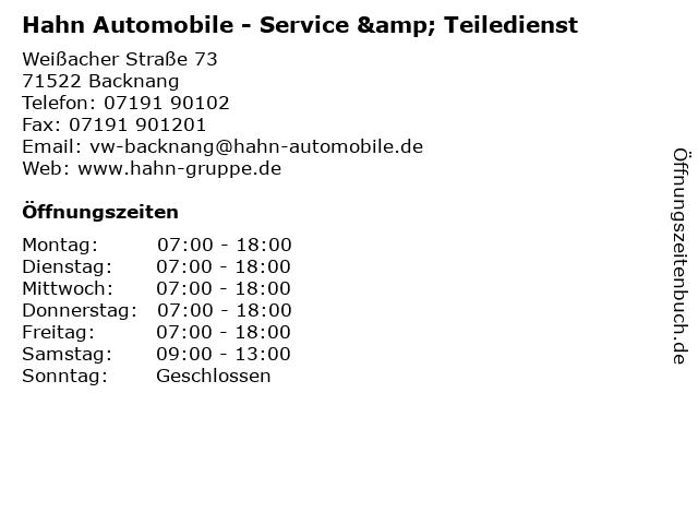 Hahn Automobile - Service & Teiledienst in Backnang: Adresse und Öffnungszeiten