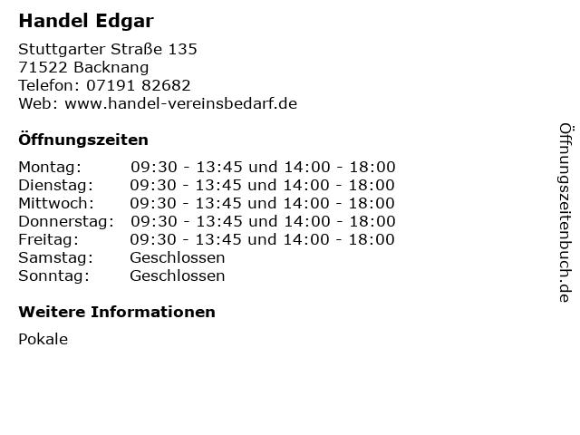 Handel Edgar in Backnang: Adresse und Öffnungszeiten