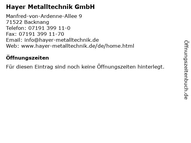 Hayer Metalltechnik GmbH in Backnang: Adresse und Öffnungszeiten