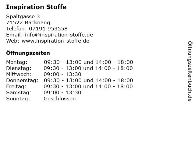 Inspiration Stoffe in Backnang: Adresse und Öffnungszeiten