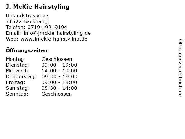 J. McKie Hairstyling in Backnang: Adresse und Öffnungszeiten