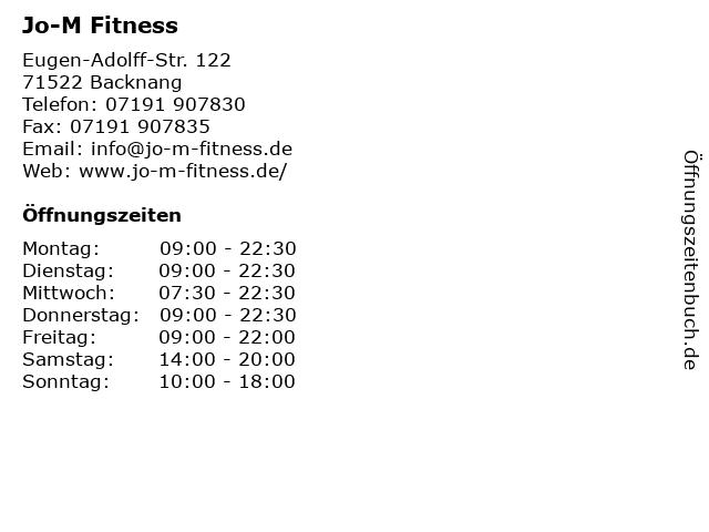 Jo-M Fitness in Backnang: Adresse und Öffnungszeiten