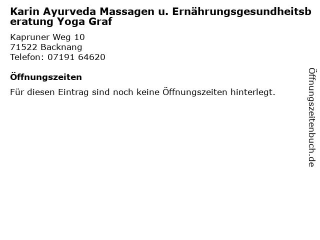 Karin Ayurveda Massagen u. Ernährungsgesundheitsberatung Yoga Graf in Backnang: Adresse und Öffnungszeiten