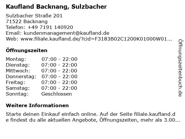 Kaufland Backnang, Sulzbacher in Backnang: Adresse und Öffnungszeiten