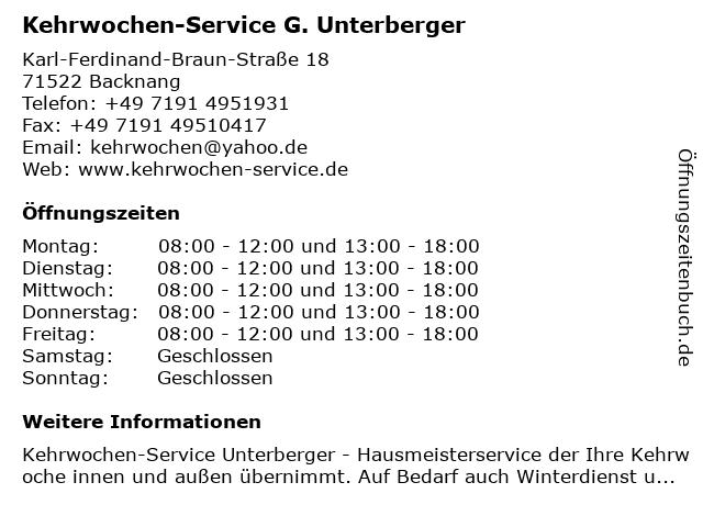 Kehrwochen-Service G. Unterberger in Backnang: Adresse und Öffnungszeiten
