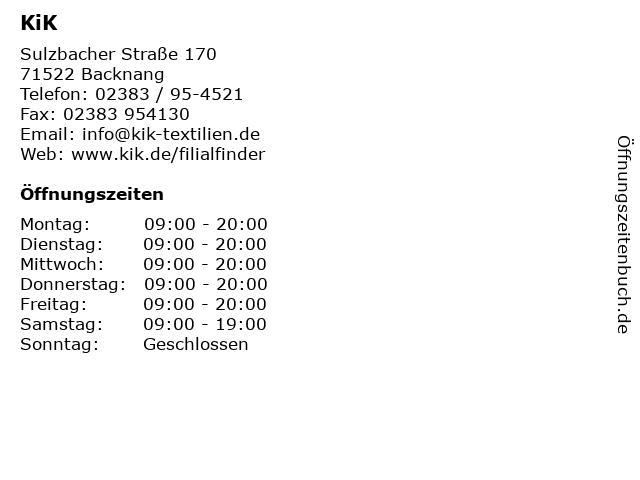 KiK in Backnang: Adresse und Öffnungszeiten
