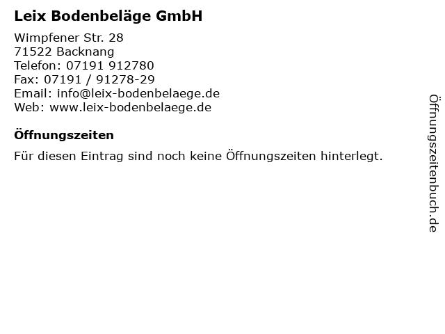 ᐅ Offnungszeiten Leix Bodenbelage Gmbh Wimpfener Str 28 In