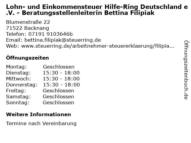 Lohn- und Einkommensteuer Hilfe-Ring Deutschland e.V. - Beratungsstellenleiterin Bettina Filipiak in Backnang: Adresse und Öffnungszeiten