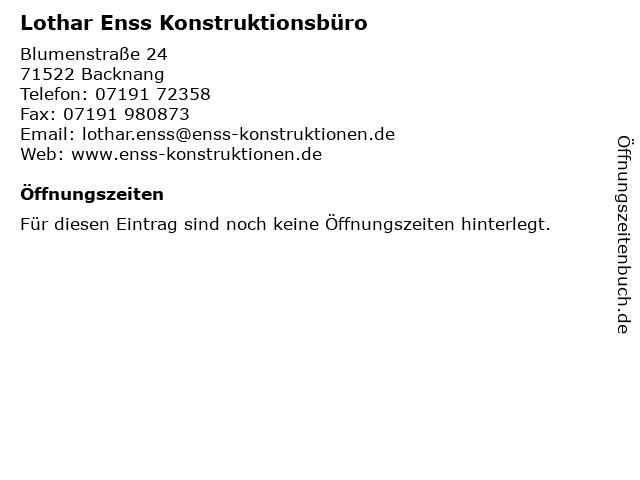 Lothar Enss Konstruktionsbüro in Backnang: Adresse und Öffnungszeiten