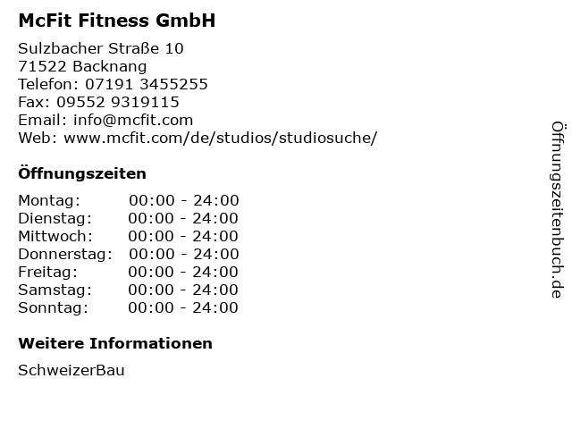 McFit Fitness GmbH in Backnang: Adresse und Öffnungszeiten