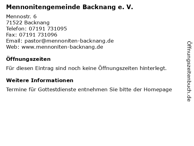 Mennonitengemeinde Backnang e. V. in Backnang: Adresse und Öffnungszeiten