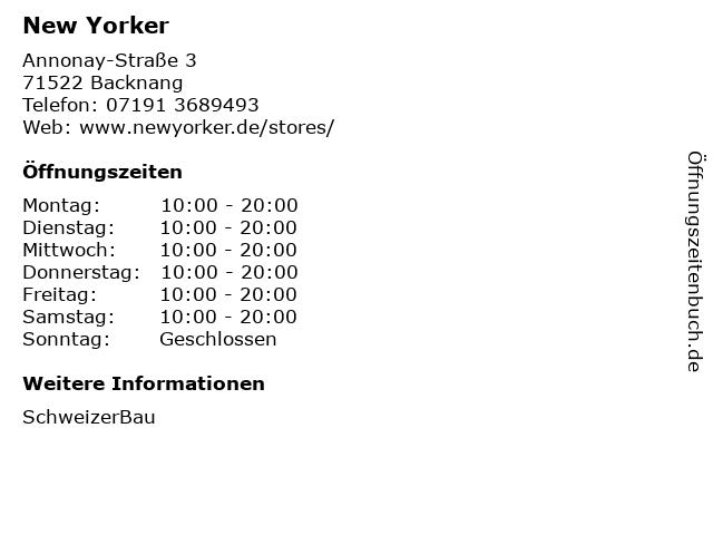 New Yorker Deutschland GmbH in Backnang: Adresse und Öffnungszeiten